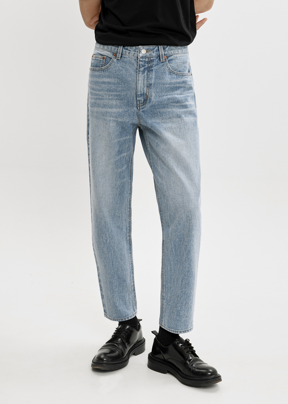 SLIM TAPERED CROP JEANS JS [MID BLUE]