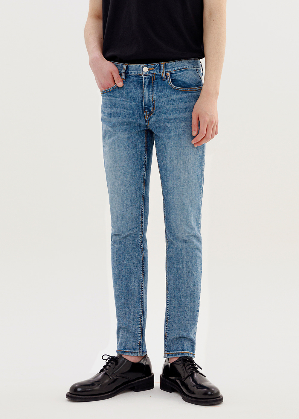 CROP JEANS IA [MID BLUE]