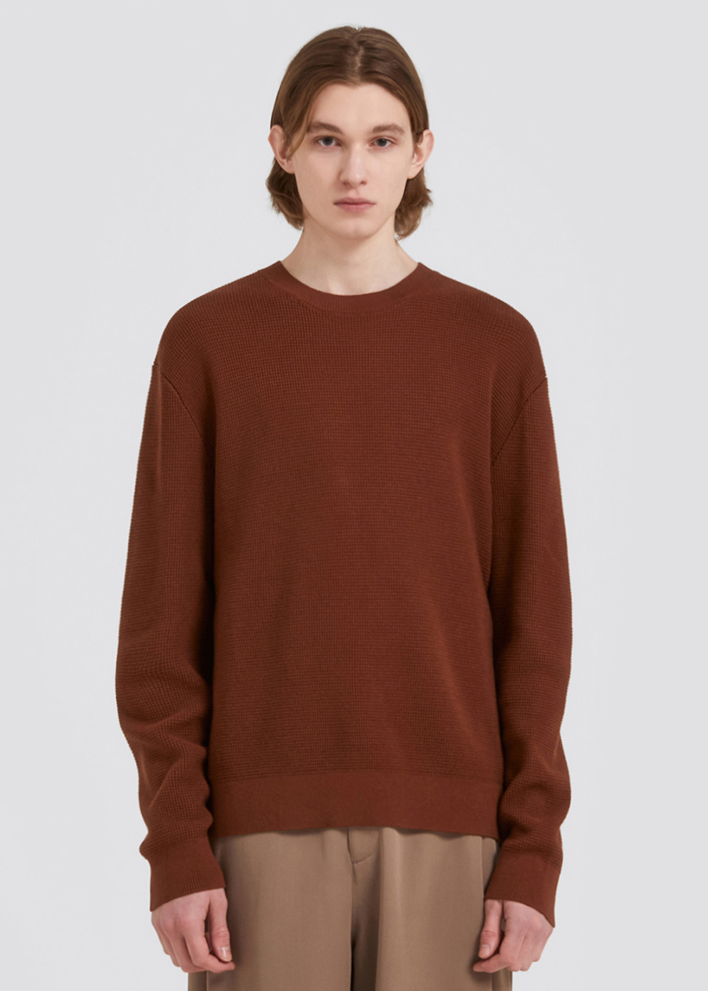 COTTON WAFFLE KNIT [BROWN]