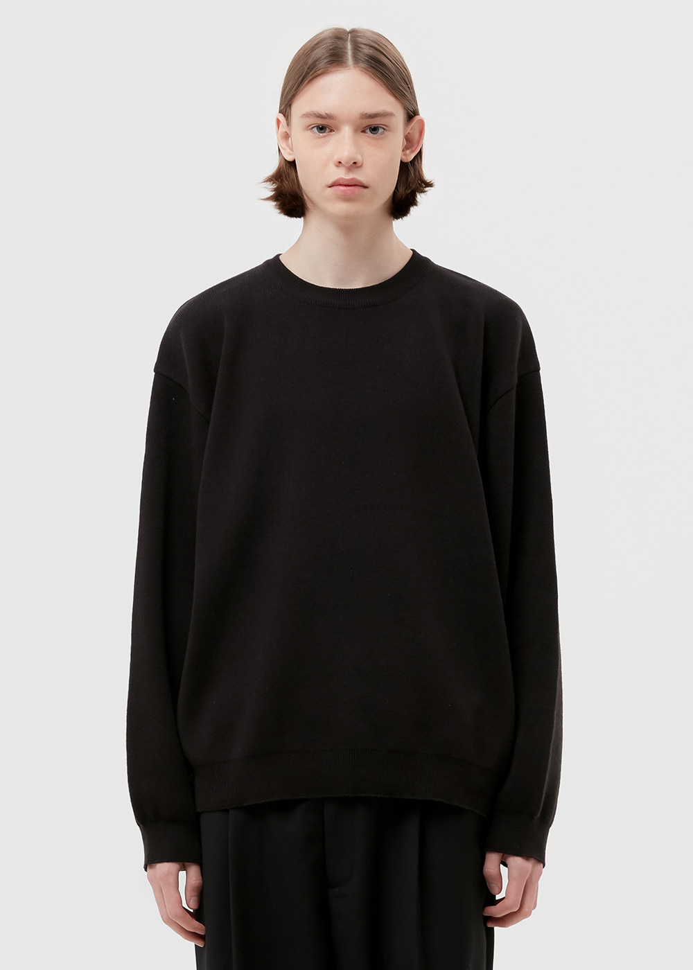 WOOL CREWNECK KNIT [BLACK]