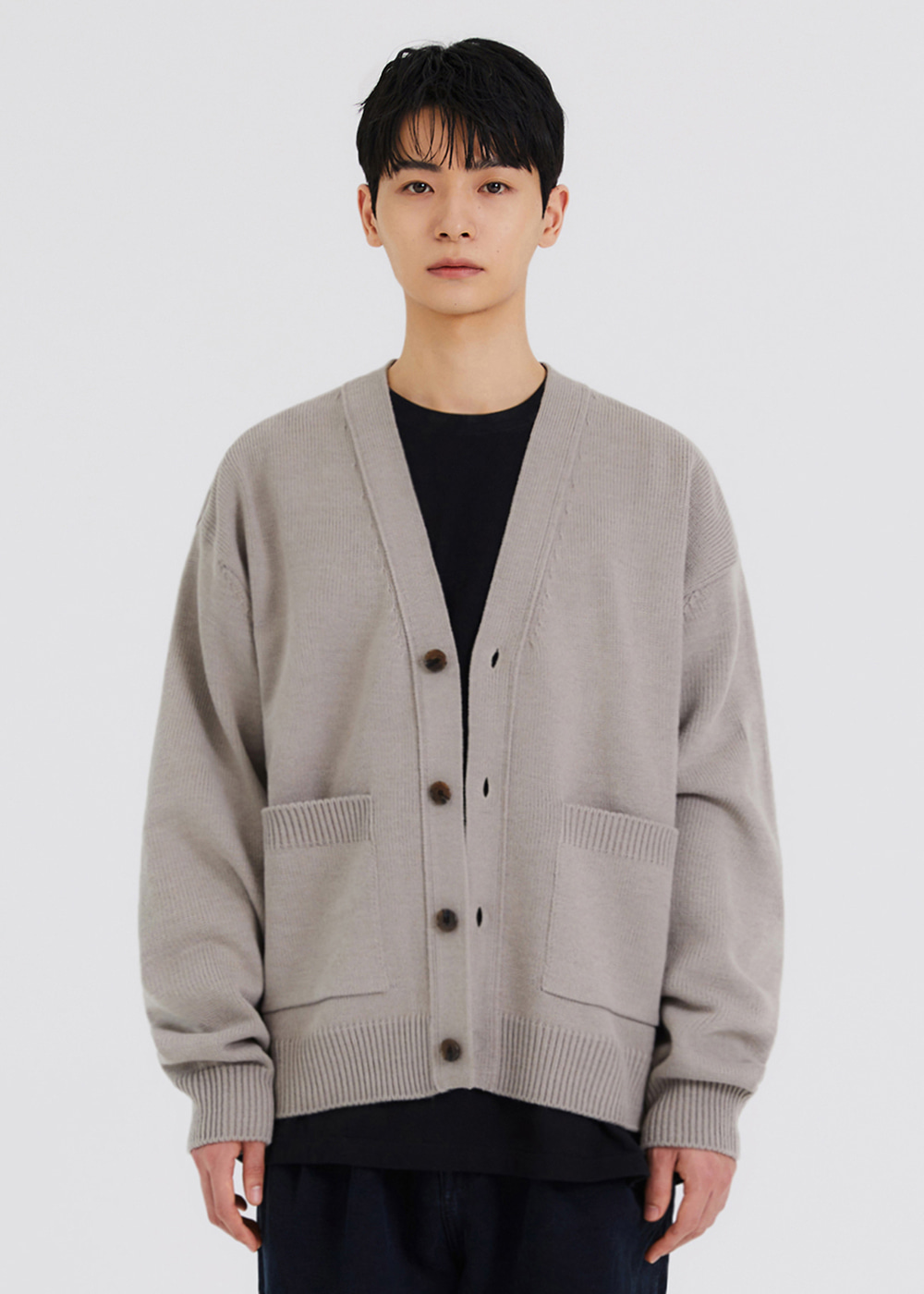 HEAVY KNIT CARDIGAN [GREY]