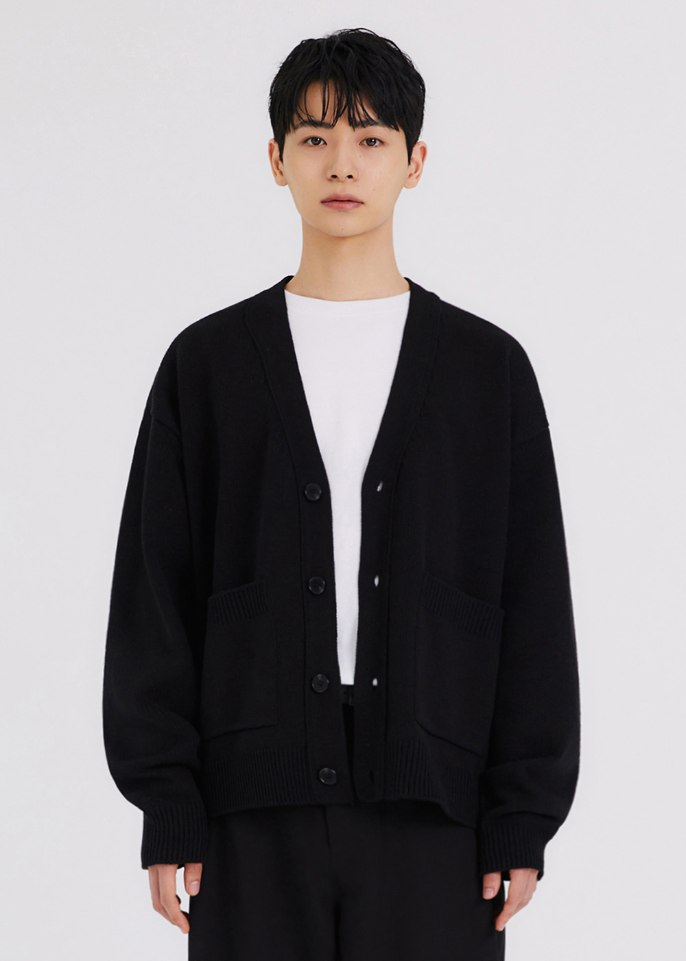 HEAVY KNIT CARDIGAN [BLACK]