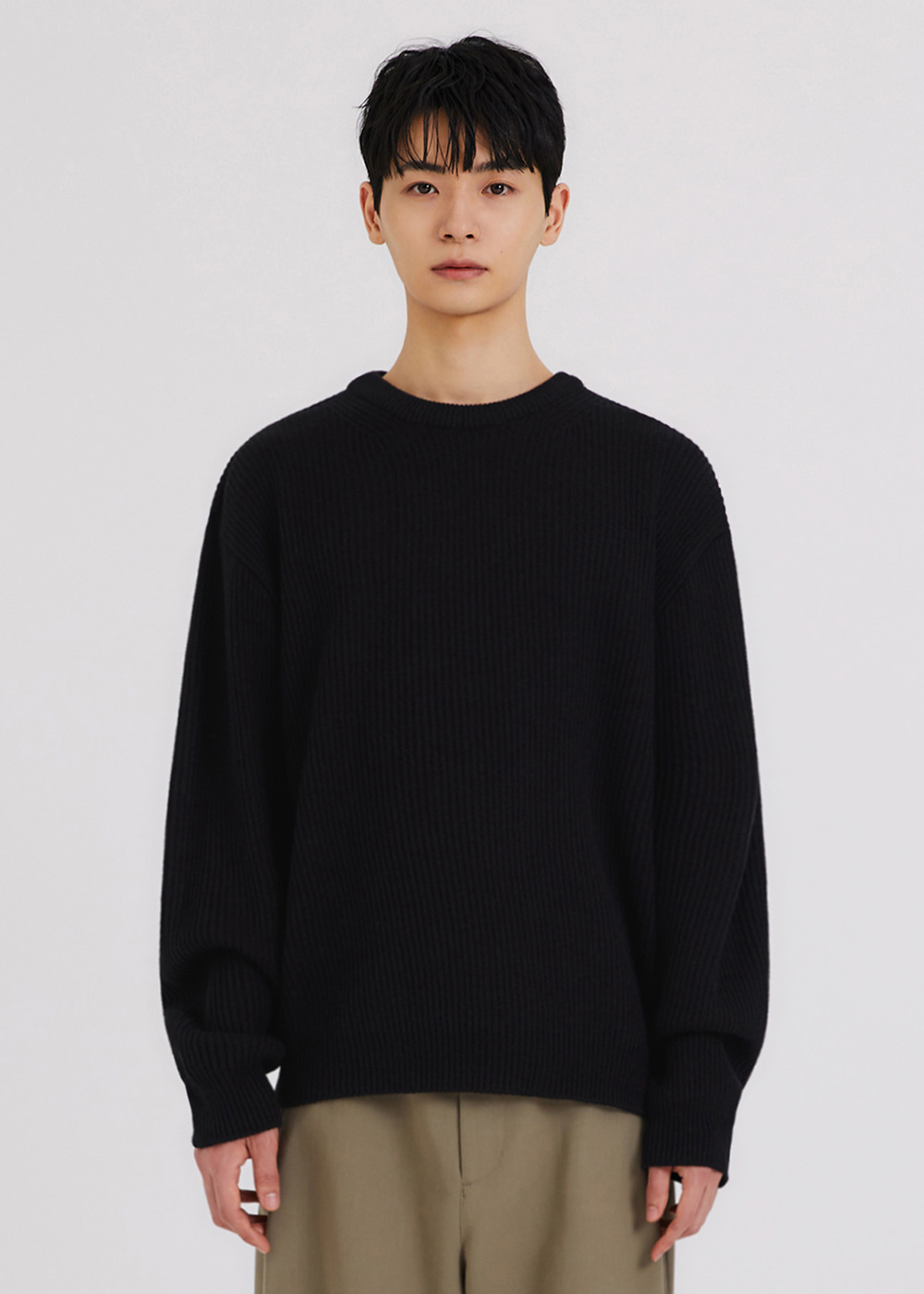 SOFT FISHERMAN KNIT [BLACK]
