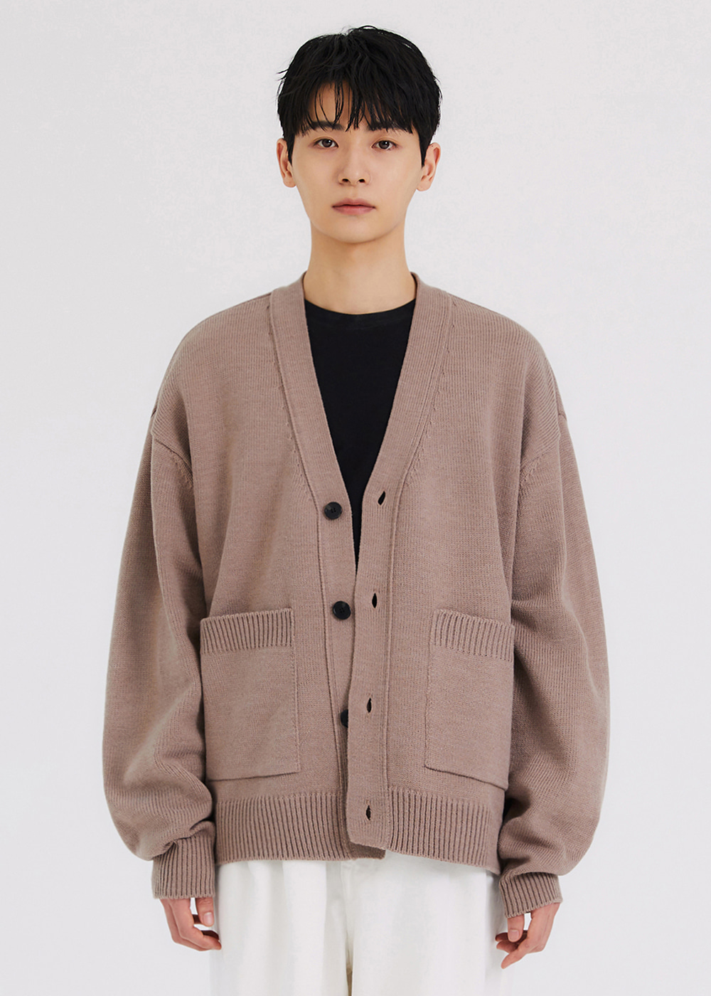 HEAVY KNIT CARDIGAN [BROWN]