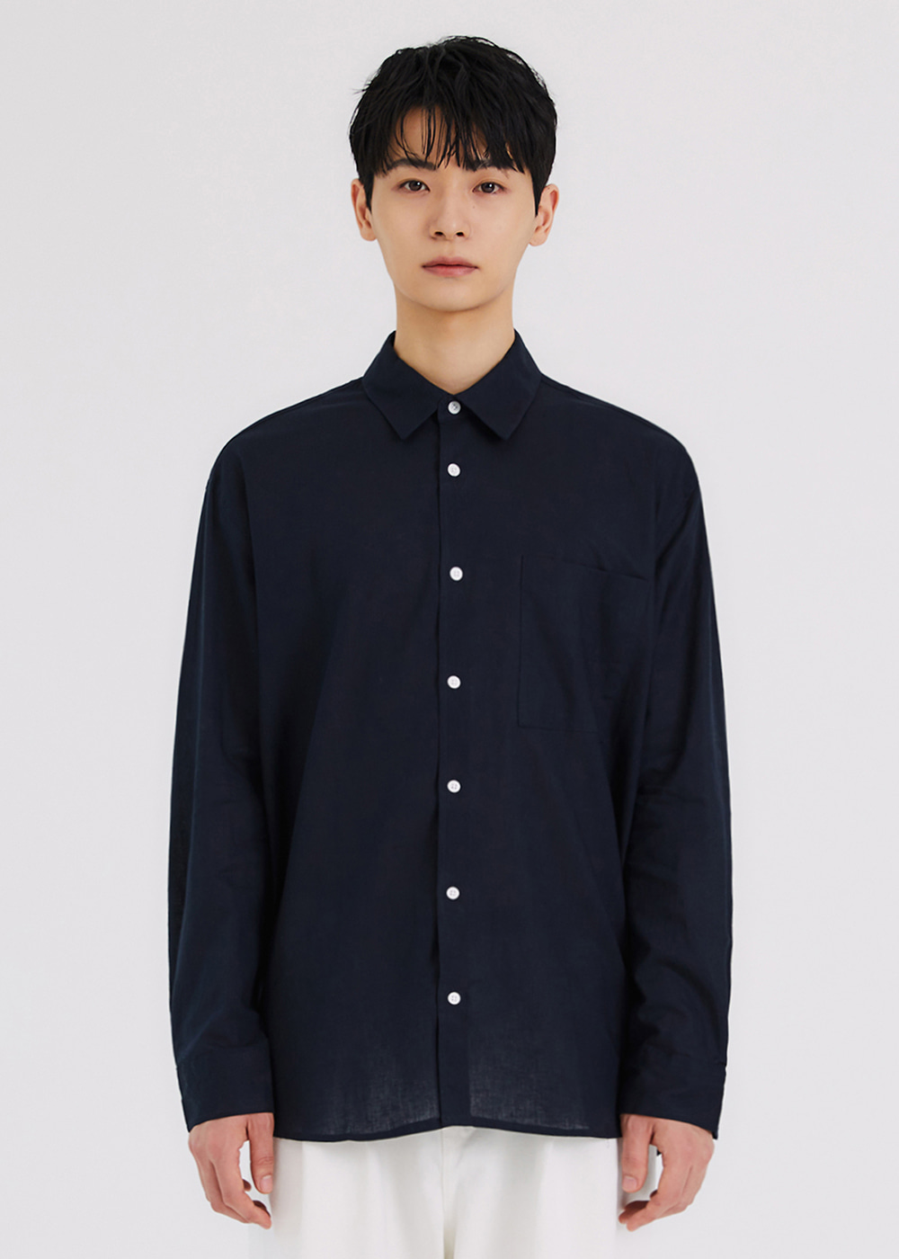 COOLING LINEN SHIRTS [NAVY]