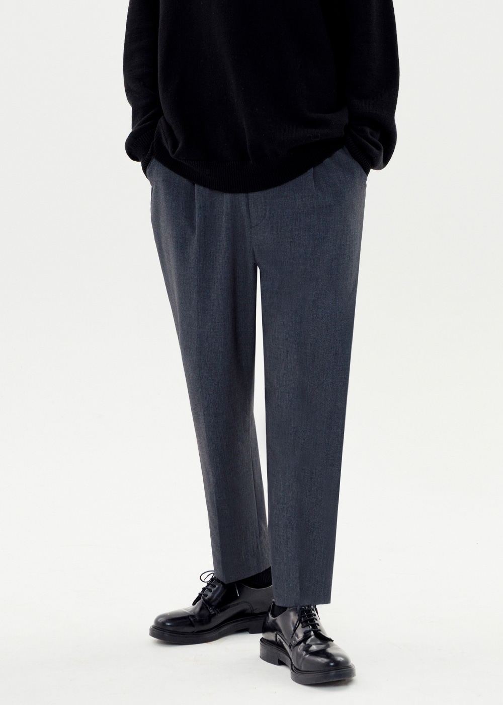 CROP BAGGY SLACKS JS [CHARCOAL]