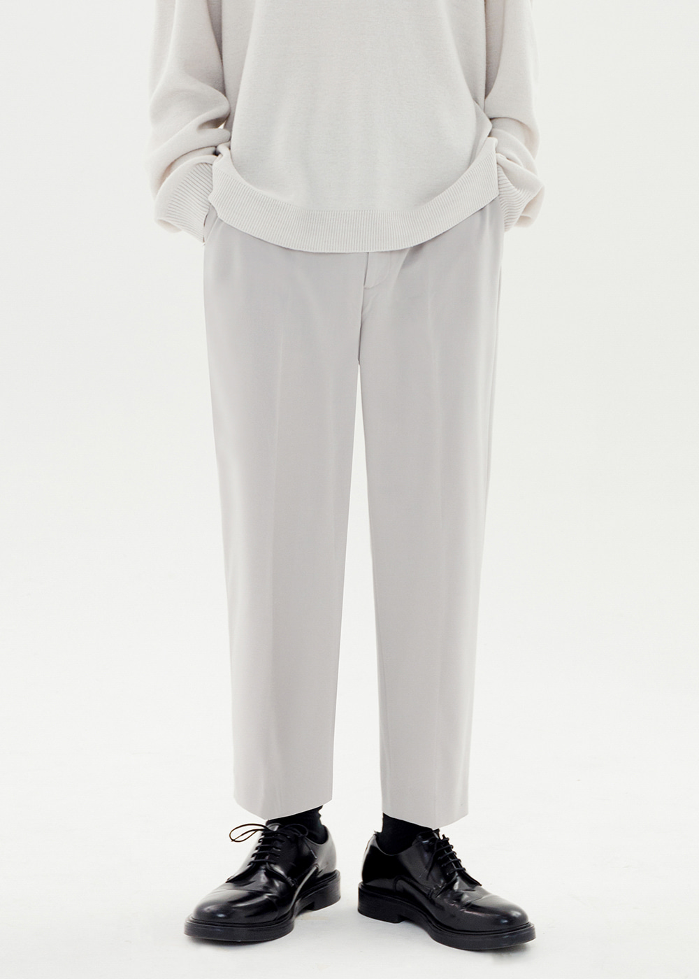 CROP WIDE SLACKS JS [LIGHT GRAY]